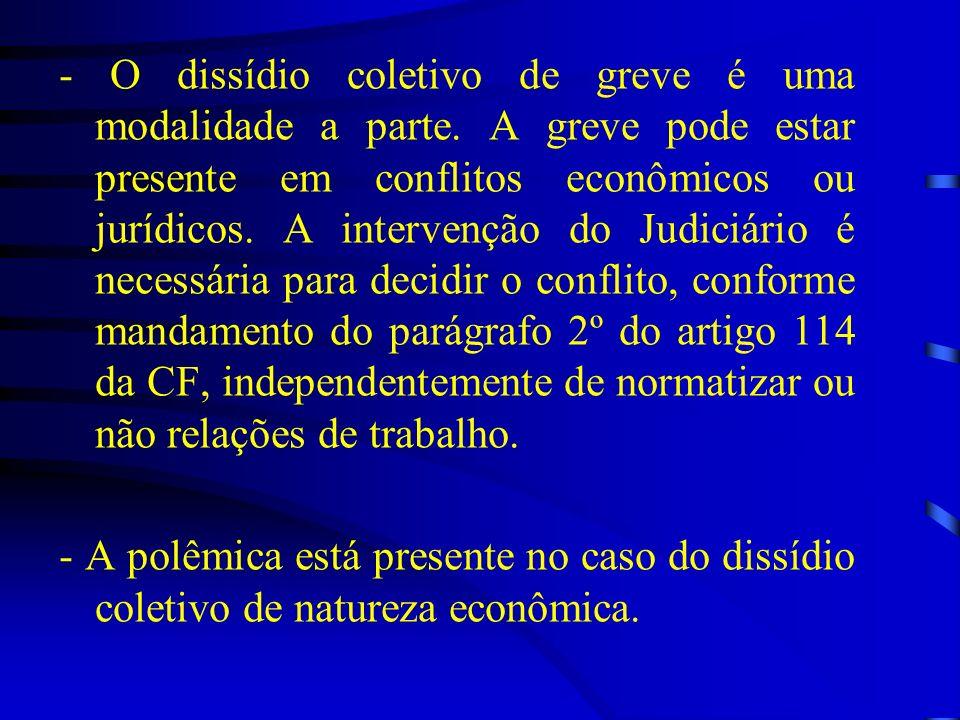 - O dissídio coletivo de greve é uma modalidade a parte. A greve pode estar presente em conflitos econômicos ou jurídicos. A intervenção do Judiciário