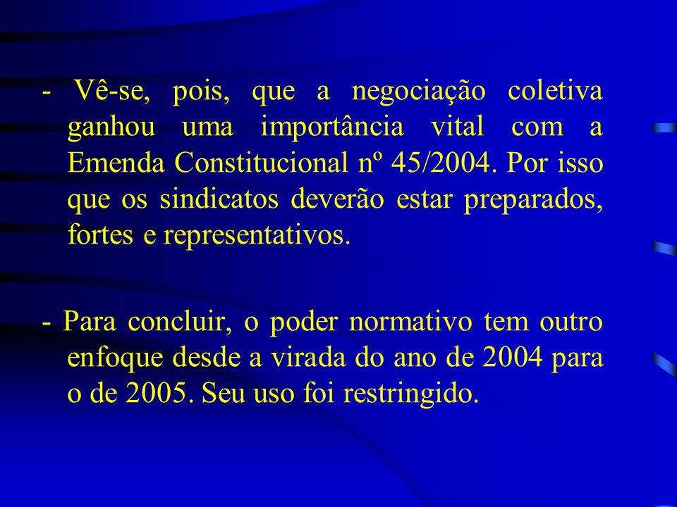 - Vê-se, pois, que a negociação coletiva ganhou uma importância vital com a Emenda Constitucional nº 45/2004. Por isso que os sindicatos deverão estar