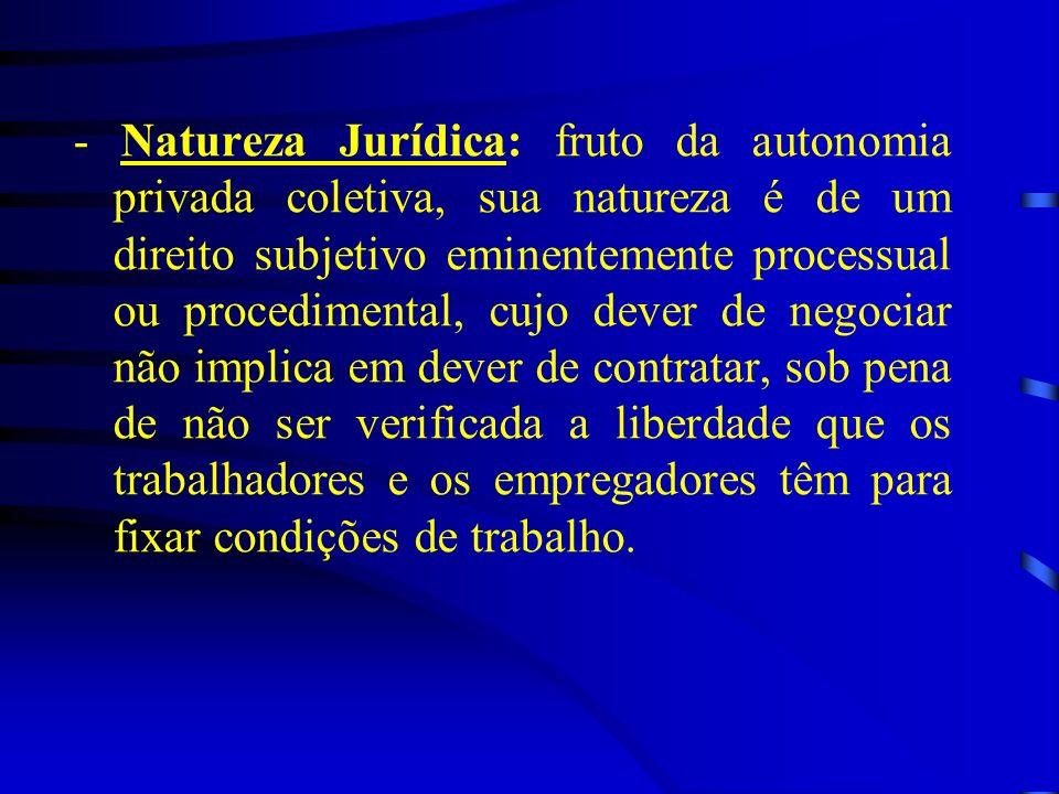 - Natureza Jurídica: fruto da autonomia privada coletiva, sua natureza é de um direito subjetivo eminentemente processual ou procedimental, cujo dever