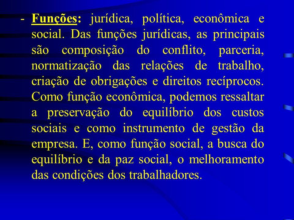-Funções: jurídica, política, econômica e social. Das funções jurídicas, as principais são composição do conflito, parceria, normatização das relações