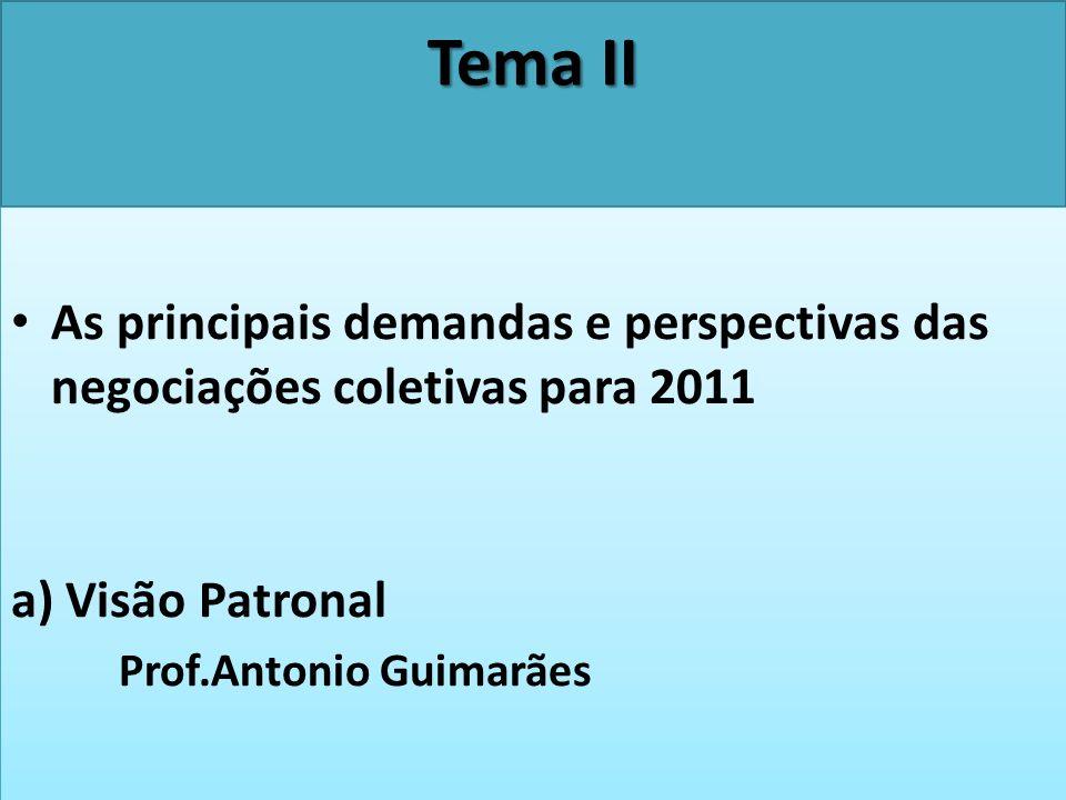 Tema II As principais demandas e perspectivas das negociações coletivas para 2011 a) Visão Patronal Prof.Antonio Guimarães As principais demandas e pe