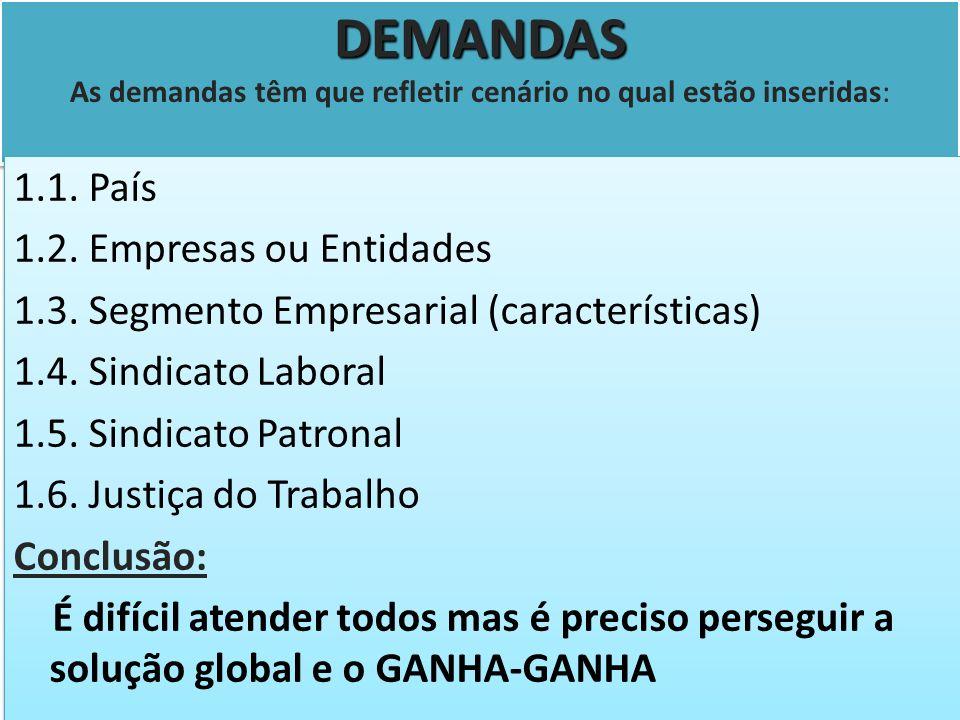 DEMANDAS DEMANDAS As demandas têm que refletir cenário no qual estão inseridas: 1.1. País 1.2. Empresas ou Entidades 1.3. Segmento Empresarial (caract