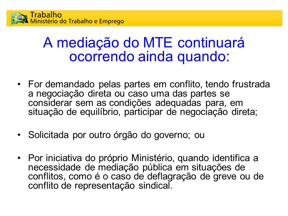 A mediação do MTE continuará ocorrendo ainda quando: For demandado pelas partes em conflito, tendo frustrada a negociação direta ou caso uma das parte