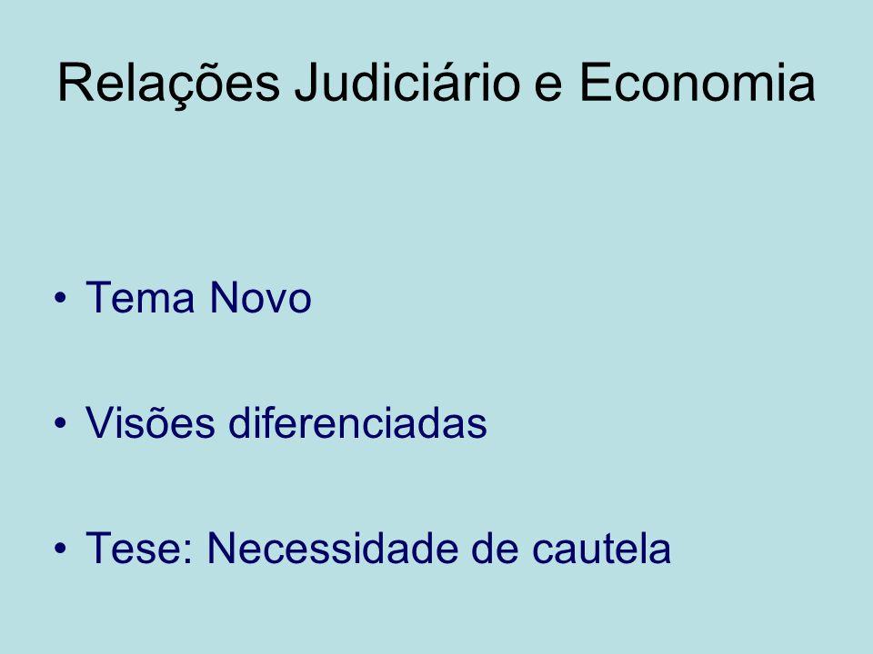 Relações Judiciário e Economia Tema Novo Visões diferenciadas Tese: Necessidade de cautela