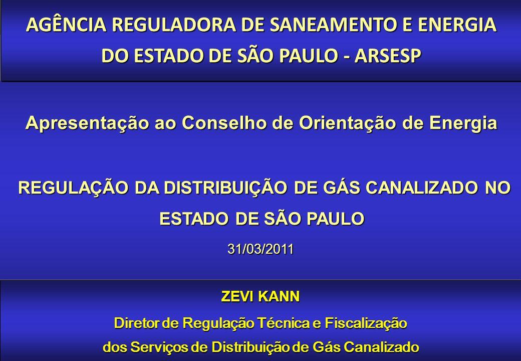 REGULAÇÃO DA DISTRIBUIÇÃO DE GÁS CANALIZADO NO ESTADO DE SÃO PAULO 31/03/2011 Apresentação ao Conselho de Orientação de Energia ZEVI KANN Diretor de Regulação Técnica e Fiscalização dos Serviços de Distribuição de Gás Canalizado AGÊNCIA REGULADORA DE SANEAMENTO E ENERGIA DO ESTADO DE SÃO PAULO - ARSESP