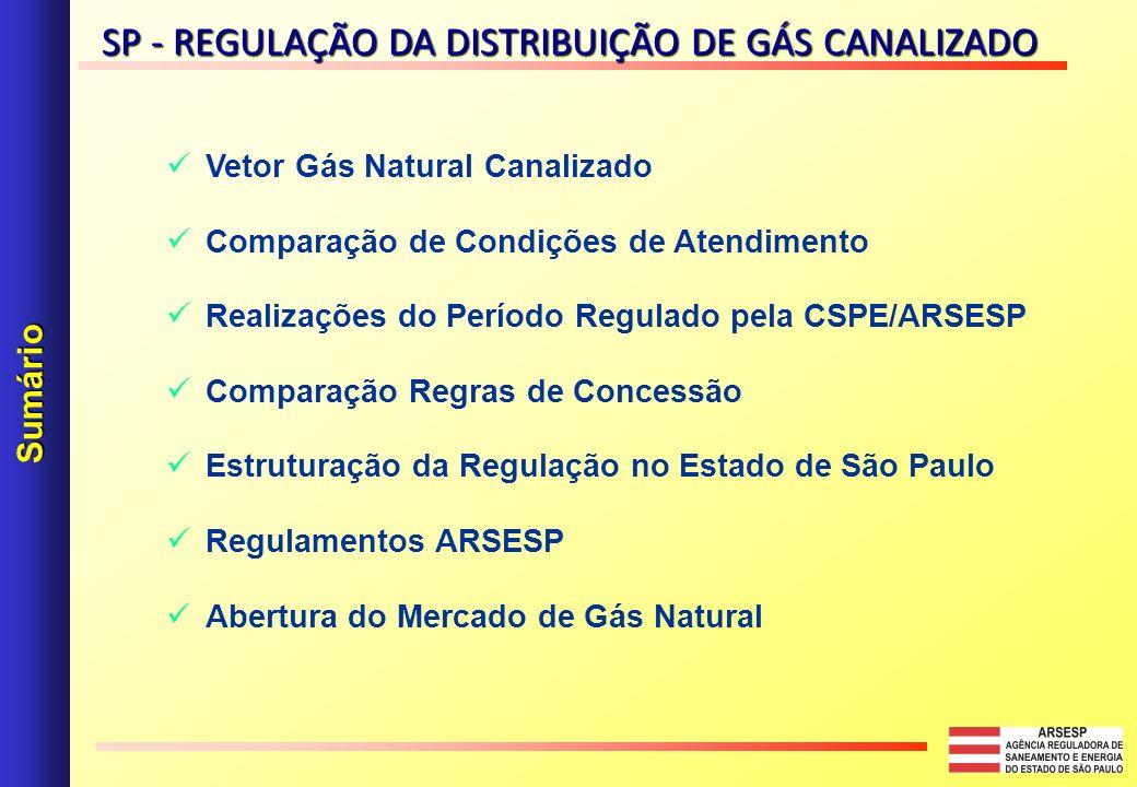 Vetor Gás Natural Canalizado Comparação de Condições de Atendimento Realizações do Período Regulado pela CSPE/ARSESP Comparação Regras de Concessão Estruturação da Regulação no Estado de São Paulo Regulamentos ARSESP Abertura do Mercado de Gás Natural Sumário SP - REGULAÇÃO DA DISTRIBUIÇÃO DE GÁS CANALIZADO