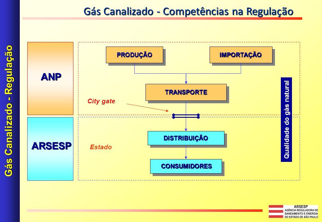 Gás Canalizado - Competências na Regulação ARSESP ANP PRODUÇÃOPRODUÇÃOIMPORTAÇÃOIMPORTAÇÃO TRANSPORTETRANSPORTE CONSUMIDORES CONSUMIDORES DISTRIBUIÇÃODISTRIBUIÇÃO City gate Qualidade do gás natural Estado Gás Canalizado - Regulação