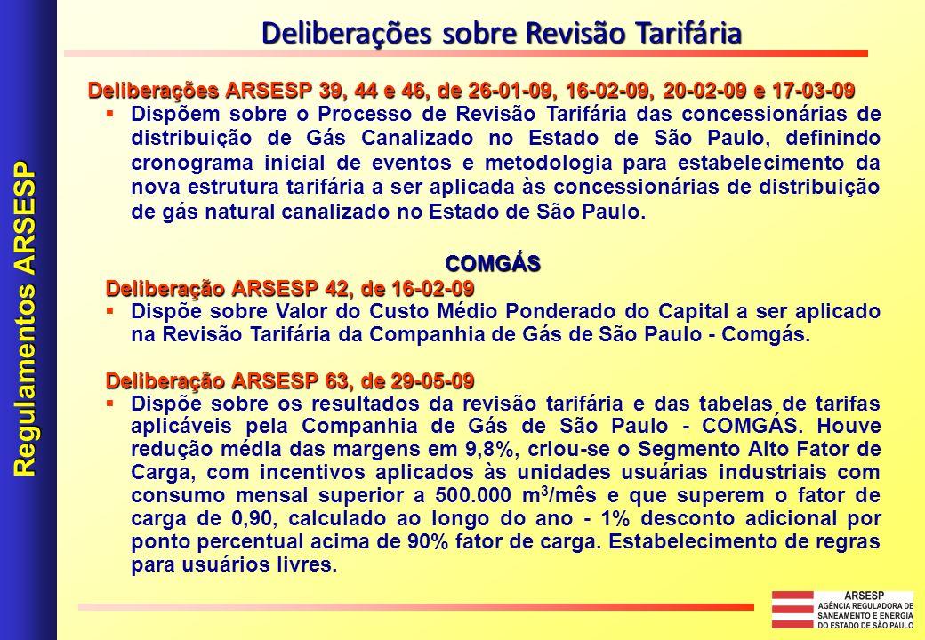 Deliberações ARSESP 39, 44 e 46, de 26-01-09, 16-02-09, 20-02-09 e 17-03-09 Dispõem sobre o Processo de Revisão Tarifária das concessionárias de distribuição de Gás Canalizado no Estado de São Paulo, definindo cronograma inicial de eventos e metodologia para estabelecimento da nova estrutura tarifária a ser aplicada às concessionárias de distribuição de gás natural canalizado no Estado de São Paulo.COMGÁS Deliberação ARSESP 42, de 16-02-09 Dispõe sobre Valor do Custo Médio Ponderado do Capital a ser aplicado na Revisão Tarifária da Companhia de Gás de São Paulo - Comgás.