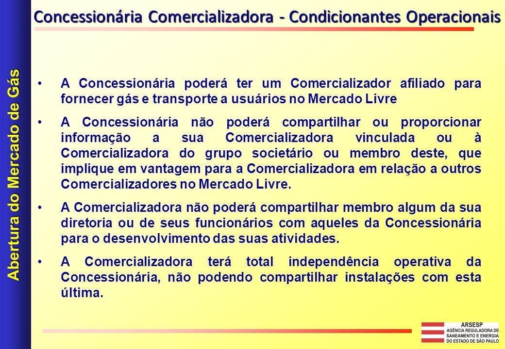 Concessionária Comercializadora - Condicionantes Operacionais A Concessionária poderá ter um Comercializador afiliado para fornecer gás e transporte a
