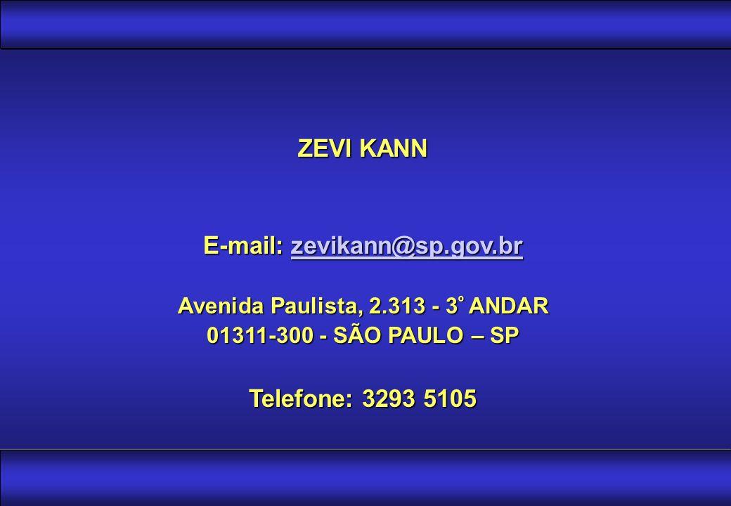ZEVI KANN E-mail: zevikann@sp.gov.br zevikann@sp.gov.br Avenida Paulista, 2.313 - 3 º ANDAR 01311-300 - SÃO PAULO – SP Telefone: 3293 5105