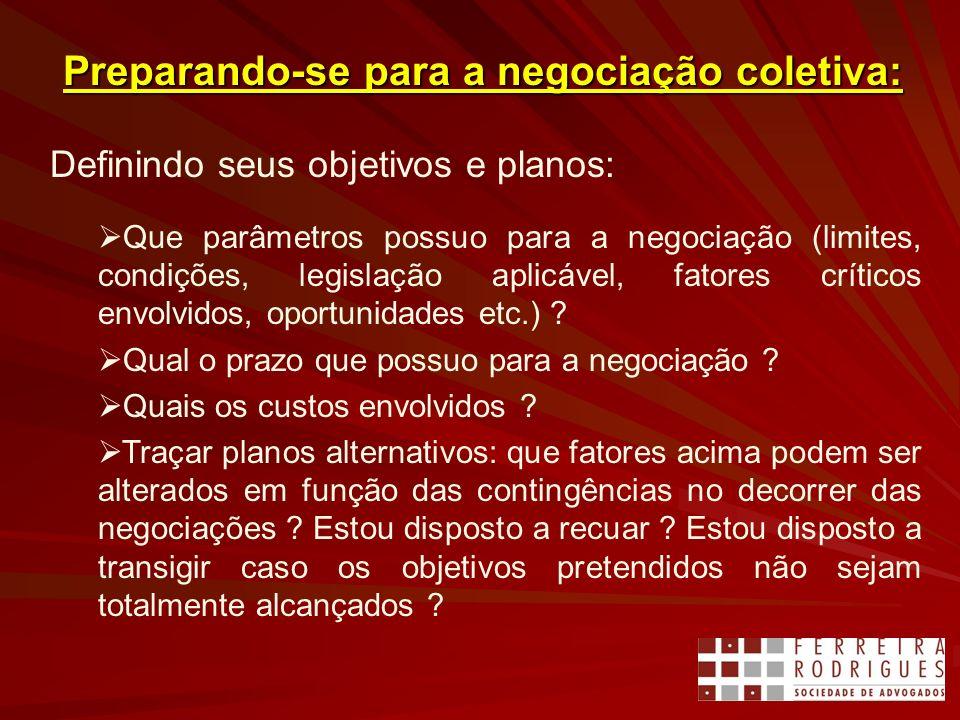 Preparando-se para a negociação coletiva: Definindo seus objetivos e planos: Que parâmetros possuo para a negociação (limites, condições, legislação a