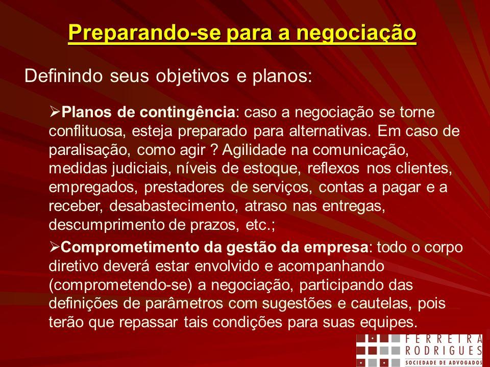Preparando-se para a negociação Definindo seus objetivos e planos: Planos de contingência: caso a negociação se torne conflituosa, esteja preparado para alternativas.