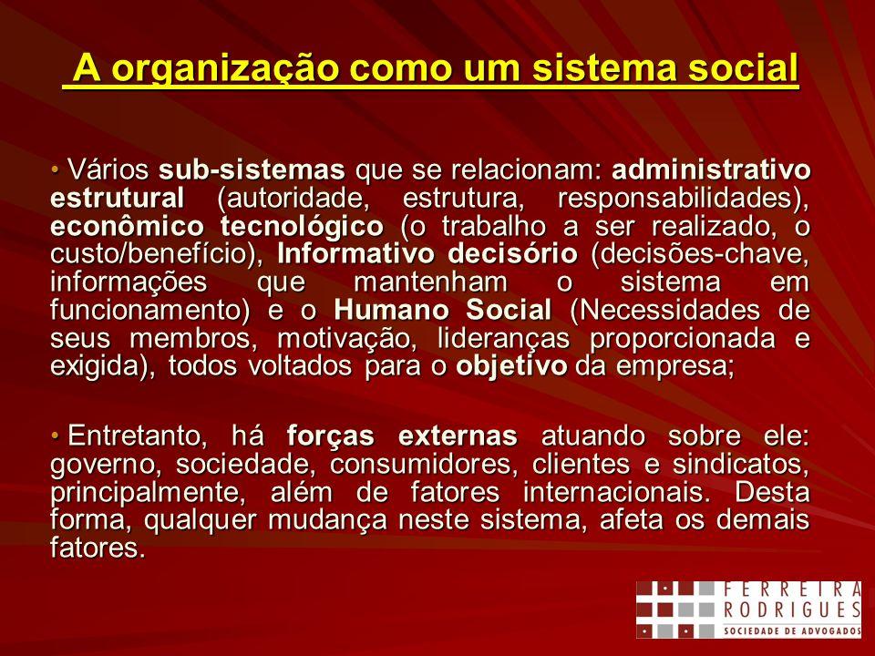 A organização como um sistema social A organização como um sistema social Vários sub-sistemas que se relacionam: administrativo estrutural (autoridade