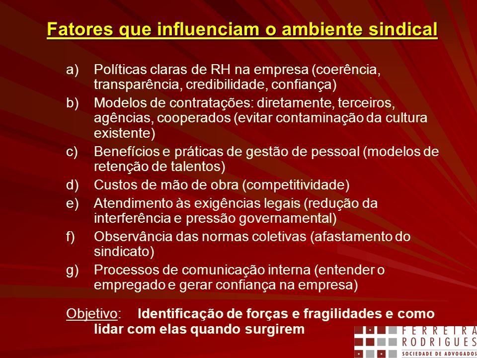 Fatores que influenciam o ambiente sindical a)Políticas claras de RH na empresa (coerência, transparência, credibilidade, confiança) b)Modelos de cont