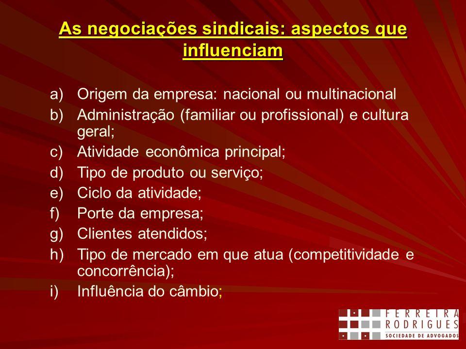 As negociações sindicais: aspectos que influenciam a)Origem da empresa: nacional ou multinacional b)Administração (familiar ou profissional) e cultura