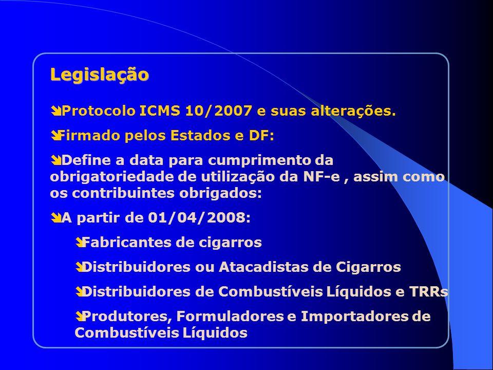 Protocolo ICMS 10/2007 e suas alterações. Firmado pelos Estados e DF: Define a data para cumprimento da obrigatoriedade de utilização da NF-e, assim c