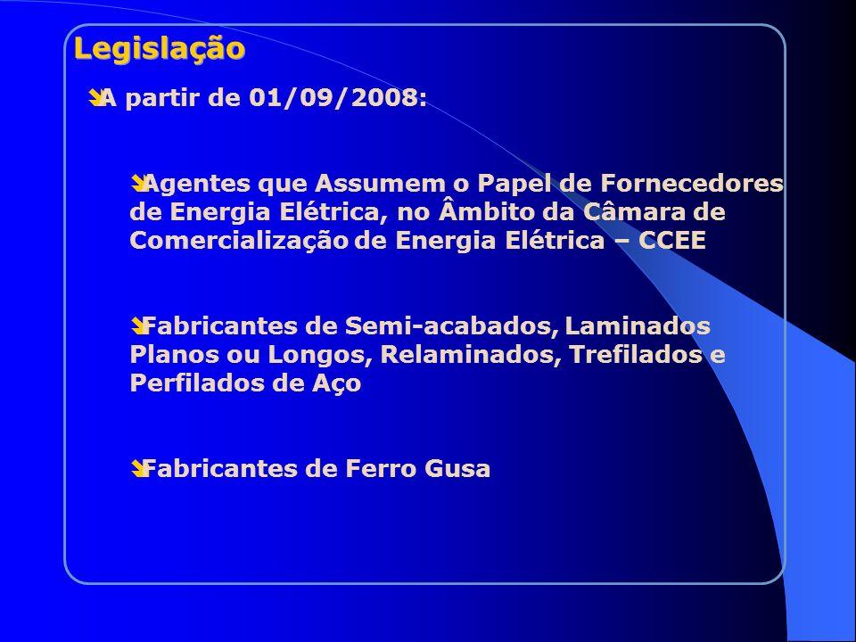 A partir de 01/09/2008: Agentes que Assumem o Papel de Fornecedores de Energia Elétrica, no Âmbito da Câmara de Comercialização de Energia Elétrica –