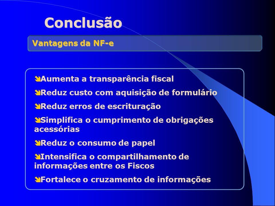 Conclusão Aumenta a transparência fiscal Reduz custo com aquisição de formulário Reduz erros de escrituração Simplifica o cumprimento de obrigações ac