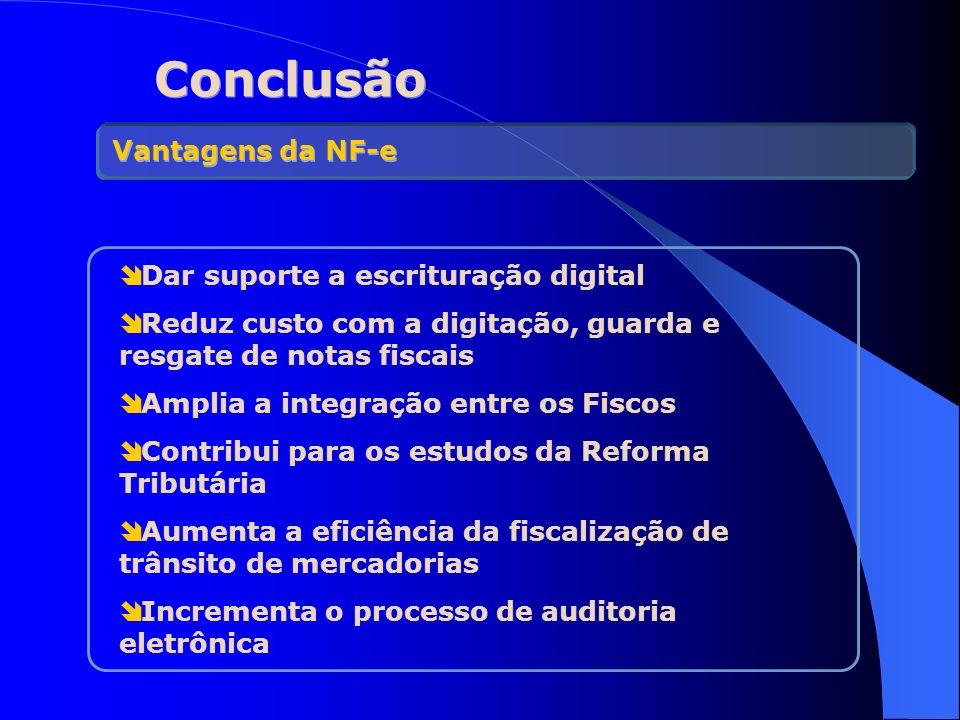 Conclusão Dar suporte a escrituração digital Reduz custo com a digitação, guarda e resgate de notas fiscais Amplia a integração entre os Fiscos Contri
