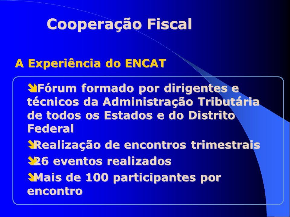 Finalidade do ENCAT Discussão ordinária de temas concernentes à Administração Tributária, no que se refere à arrecadação, fiscalização, tributação e informações econômico-fiscais relativas ao ICMS e demais tributos de competência estadual Cooperação Fiscal