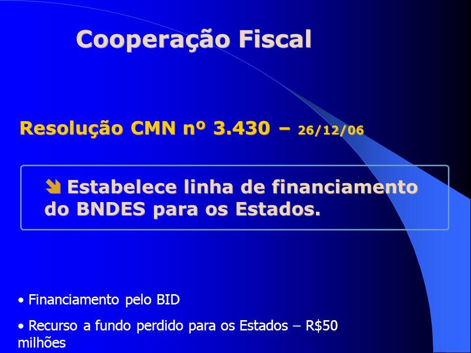 Cooperação Fiscal Estabelece linha de financiamento do BNDES para os Estados. Resolução CMN nº 3.430 – 26/12/06 Financiamento pelo BID Recurso a fundo