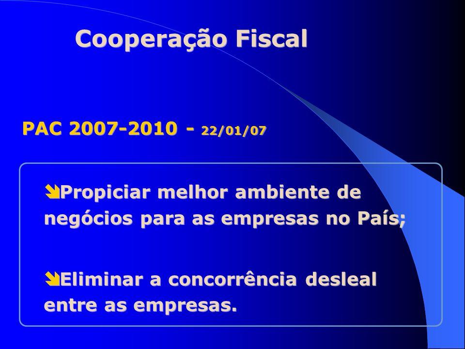 Cooperação Fiscal PAC 2007-2010 - 22/01/07 Propiciar melhor ambiente de negócios para as empresas no País; Eliminar a concorrência desleal entre as em