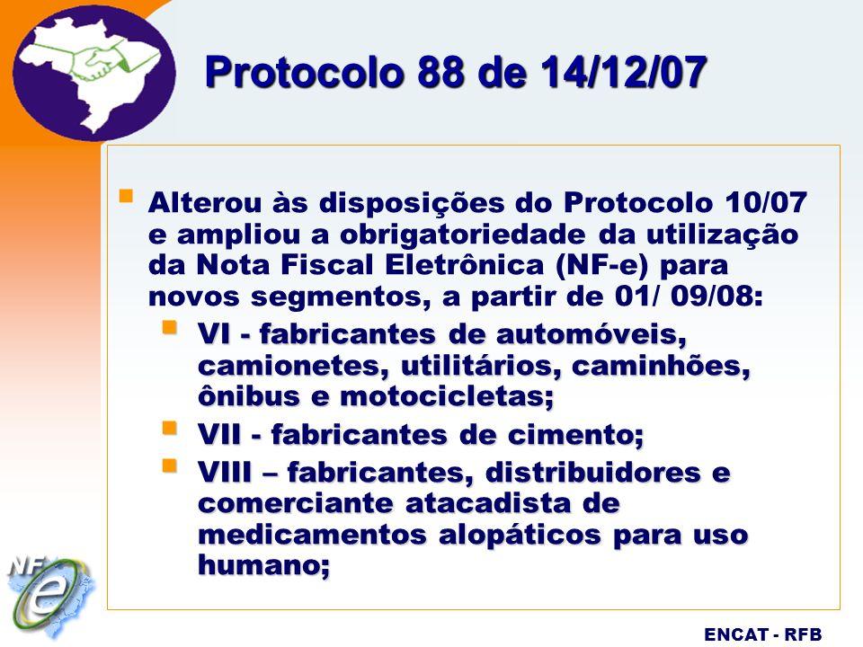 Eletrônica Projeto ENCAT - RFB Protocolo 88 de 14/12/07 Alterou às disposições do Protocolo 10/07 e ampliou a obrigatoriedade da utilização da Nota Fi