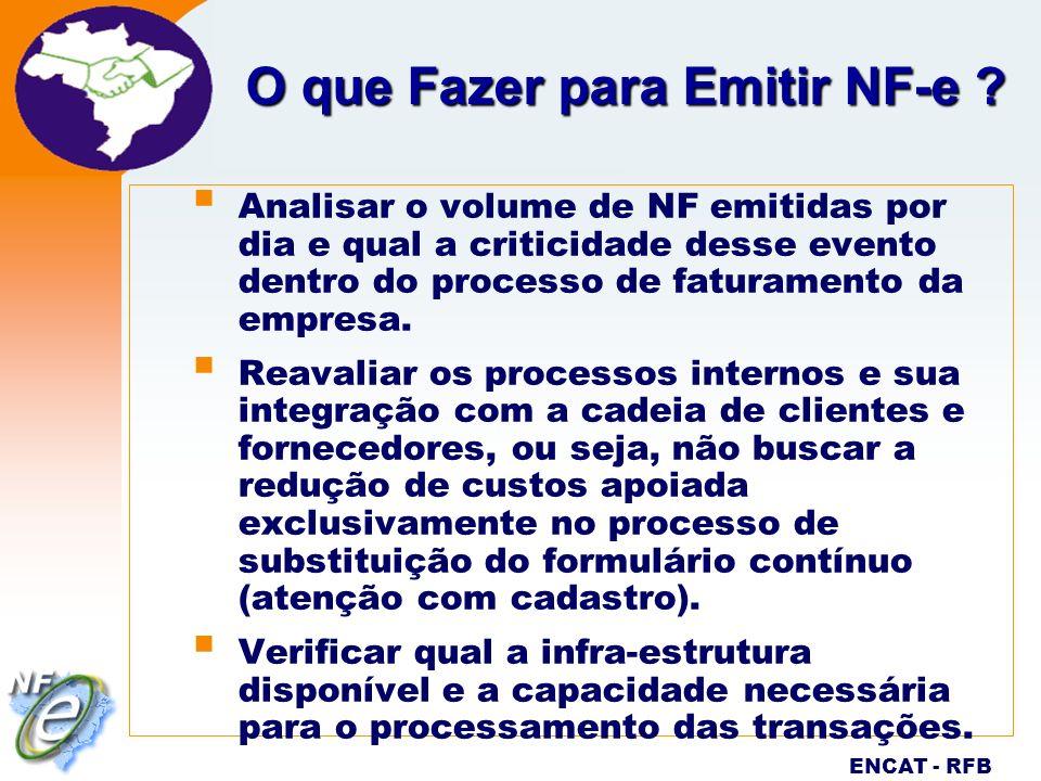Nota Fiscal Eletrônica Projeto ENCAT - RFB O que Fazer para Emitir NF-e ? Analisar o volume de NF emitidas por dia e qual a criticidade desse evento d