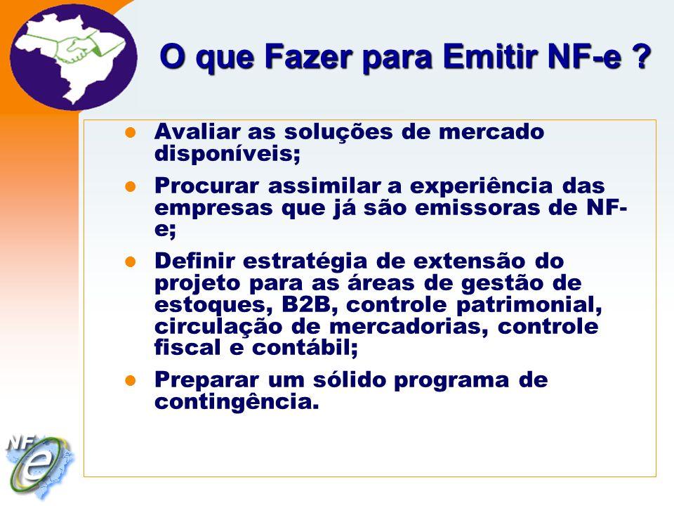 Nota Fiscal Eletrônica Projeto O que Fazer para Emitir NF-e ? Avaliar as soluções de mercado disponíveis; Procurar assimilar a experiência das empresa