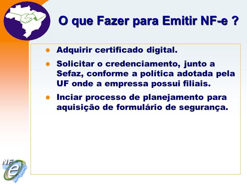 Nota Fiscal Eletrônica Projeto O que Fazer para Emitir NF-e ? Adquirir certificado digital. Solicitar o credenciamento, junto a Sefaz, conforme a polí