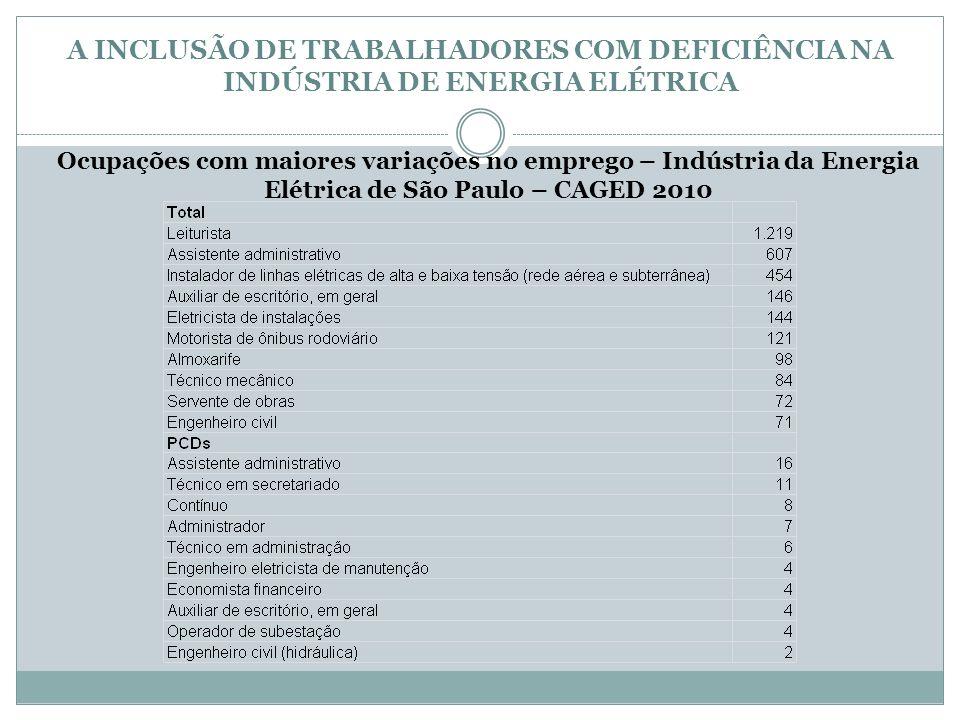 A INCLUSÃO DE TRABALHADORES COM DEFICIÊNCIA NA INDÚSTRIA DE ENERGIA ELÉTRICA Ocupações com maiores variações no emprego – Indústria da Energia Elétric
