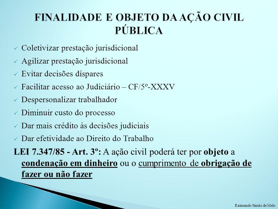 Coletivizar prestação jurisdicional Agilizar prestação jurisdicional Evitar decisões díspares Facilitar acesso ao Judiciário – CF/5º-XXXV Despersonali