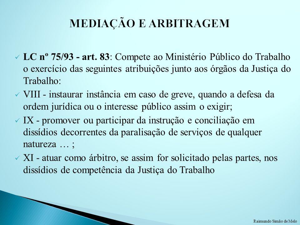 LC nº 75/93 - art. 83: Compete ao Ministério Público do Trabalho o exercício das seguintes atribuições junto aos órgãos da Justiça do Trabalho: VIII -