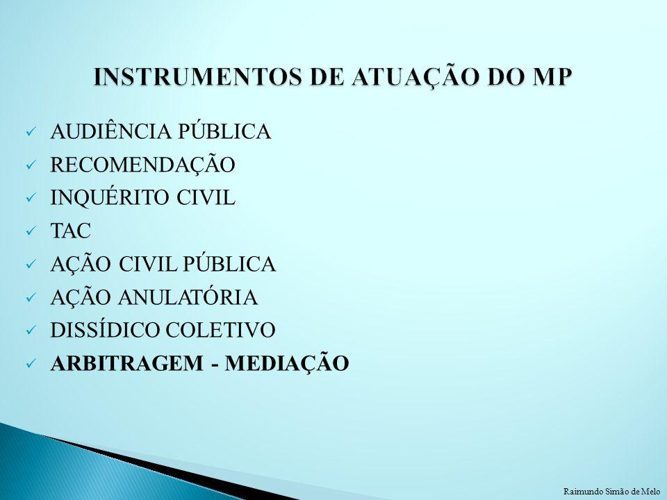 AUDIÊNCIA PÚBLICA RECOMENDAÇÃO INQUÉRITO CIVIL TAC AÇÃO CIVIL PÚBLICA AÇÃO ANULATÓRIA DISSÍDICO COLETIVO ARBITRAGEM - MEDIAÇÃO Raimundo Simão de Melo