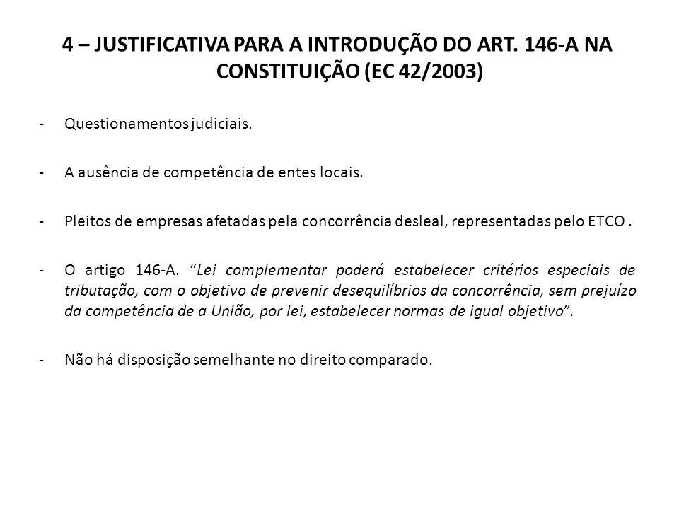 4 – JUSTIFICATIVA PARA A INTRODUÇÃO DO ART. 146-A NA CONSTITUIÇÃO (EC 42/2003) -Questionamentos judiciais. -A ausência de competência de entes locais.