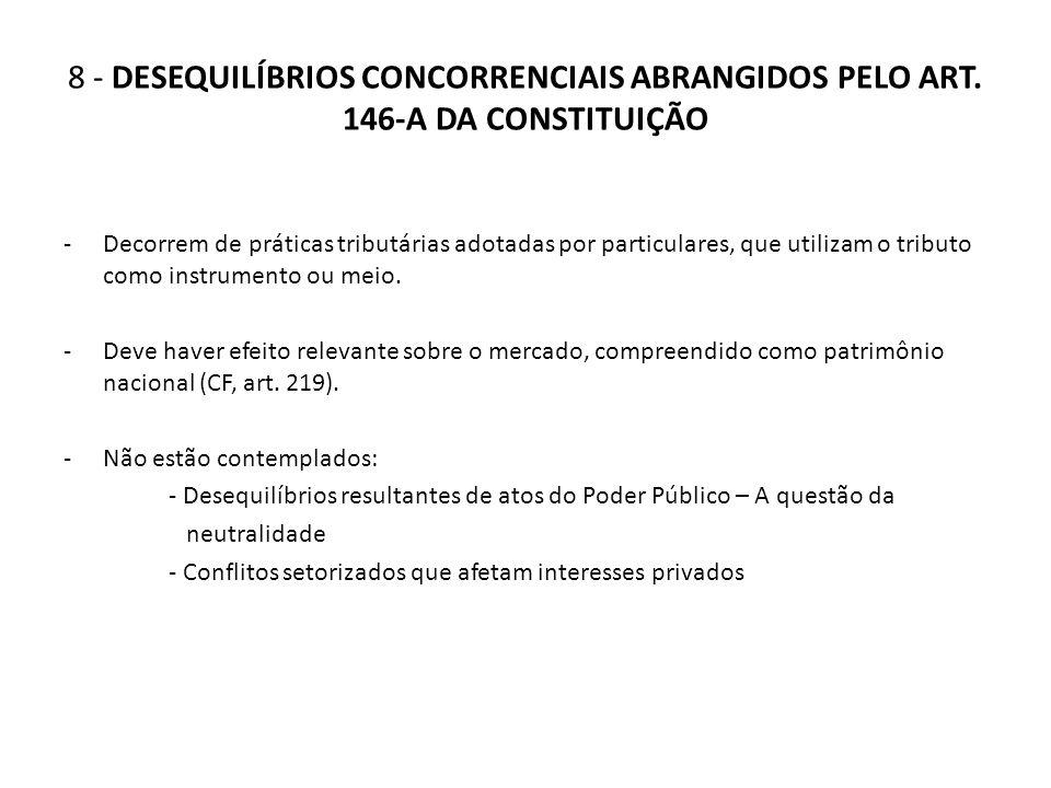 8 - DESEQUILÍBRIOS CONCORRENCIAIS ABRANGIDOS PELO ART. 146-A DA CONSTITUIÇÃO -Decorrem de práticas tributárias adotadas por particulares, que utilizam