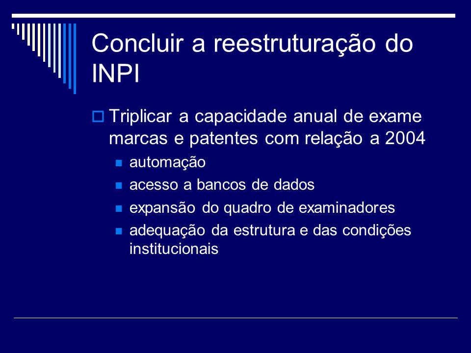 Concluir a reestruturação do INPI Triplicar a capacidade anual de exame marcas e patentes com relação a 2004 automação acesso a bancos de dados expansão do quadro de examinadores adequação da estrutura e das condições institucionais