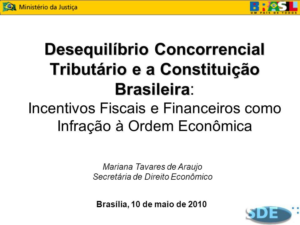 Desequilíbrio Concorrencial Tributário e a Constituição Brasileira Desequilíbrio Concorrencial Tributário e a Constituição Brasileira: Incentivos Fisc