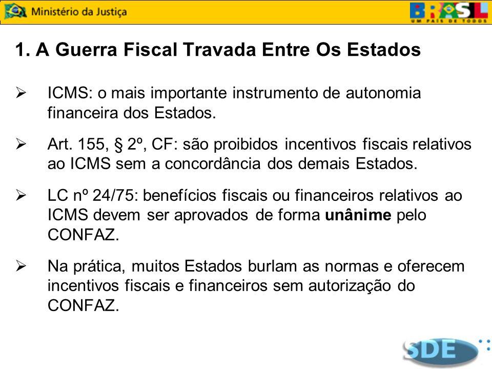 1. A Guerra Fiscal Travada Entre Os Estados ICMS: o mais importante instrumento de autonomia financeira dos Estados. Art. 155, § 2º, CF: são proibidos