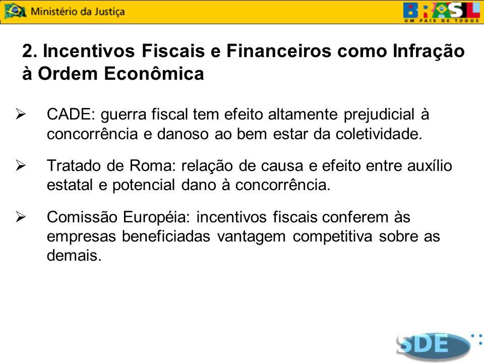 2. Incentivos Fiscais e Financeiros como Infração à Ordem Econômica CADE: guerra fiscal tem efeito altamente prejudicial à concorrência e danoso ao be