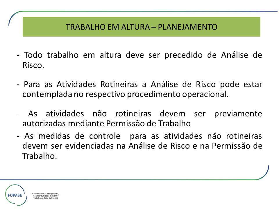 TRABALHO EM ALTURA – PLANEJAMENTO - Todo trabalho em altura deve ser precedido de Análise de Risco. - Para as Atividades Rotineiras a Análise de Risco