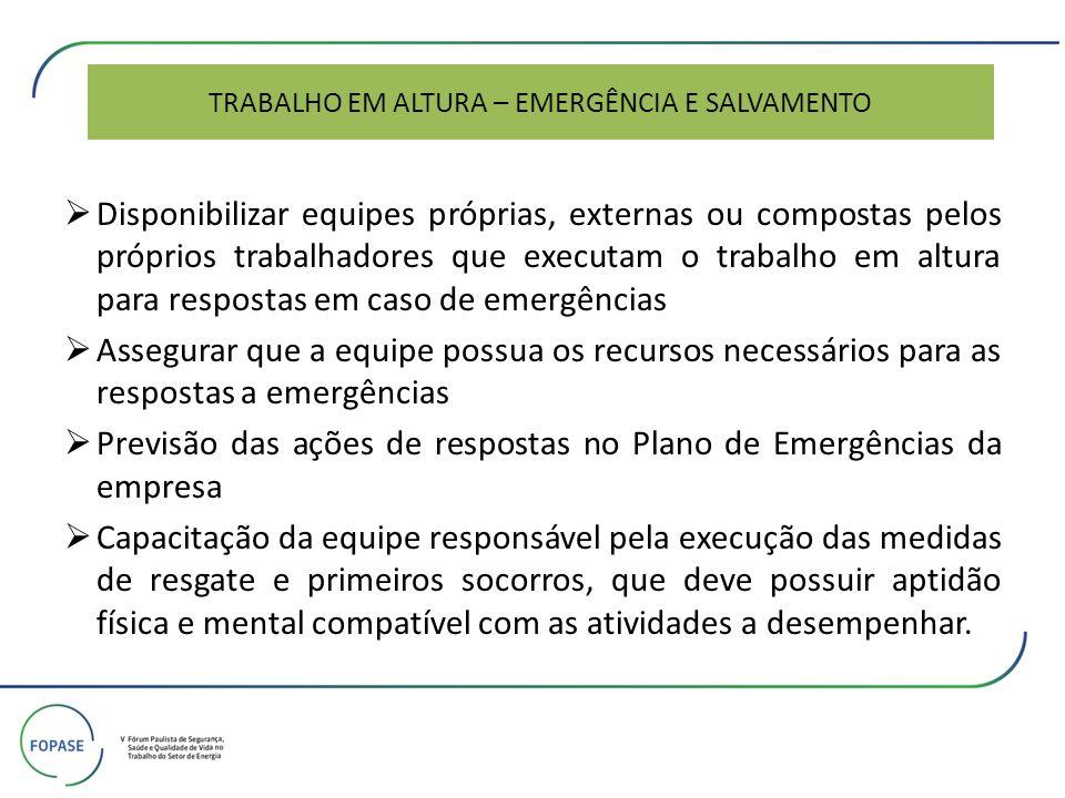 TRABALHO EM ALTURA – EMERGÊNCIA E SALVAMENTO Disponibilizar equipes próprias, externas ou compostas pelos próprios trabalhadores que executam o trabal