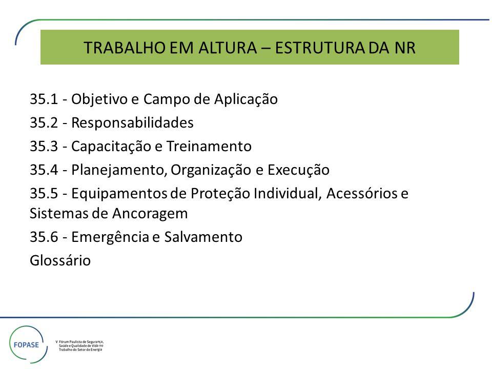 TRABALHO EM ALTURA – ESTRUTURA DA NR 35.1 - Objetivo e Campo de Aplicação 35.2 - Responsabilidades 35.3 - Capacitação e Treinamento 35.4 - Planejament