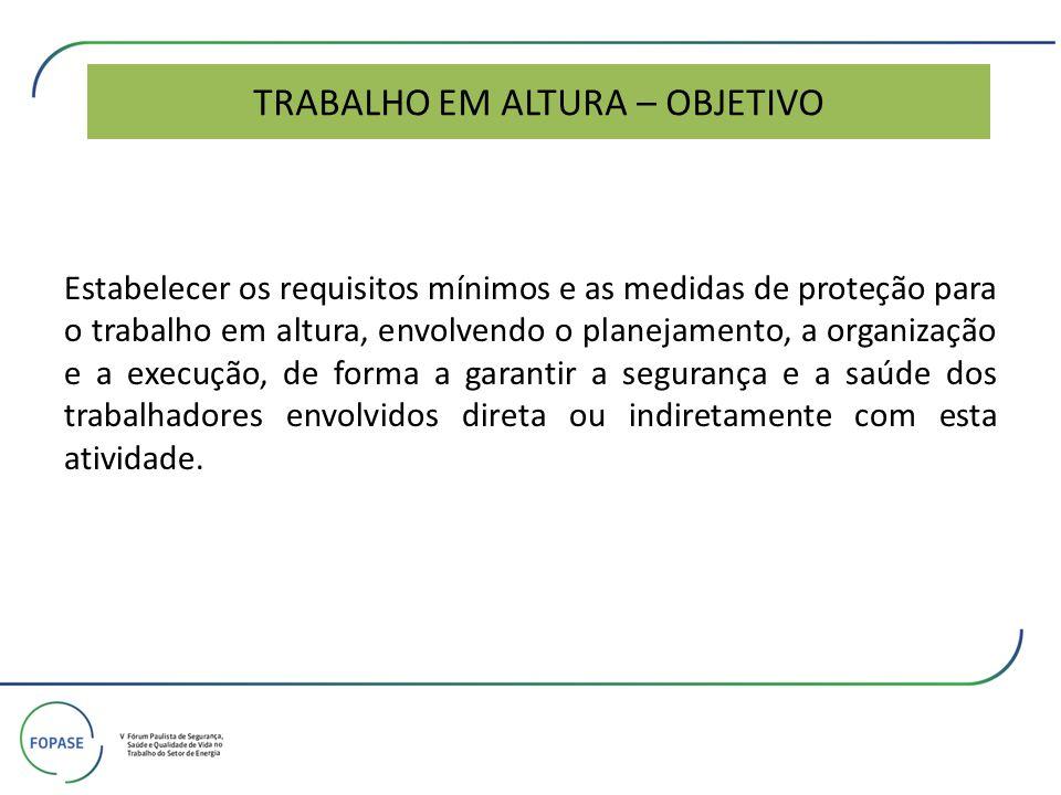 TRABALHO EM ALTURA – OBJETIVO Estabelecer os requisitos mínimos e as medidas de proteção para o trabalho em altura, envolvendo o planejamento, a organ