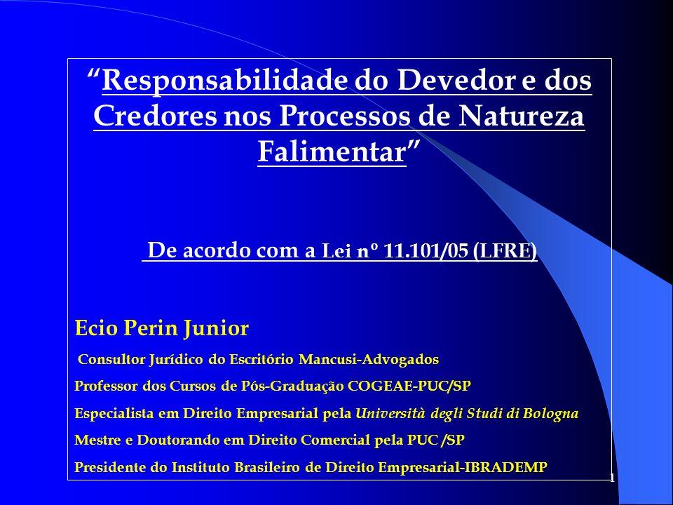 1 Responsabilidade do Devedor e dos Credores nos Processos de Natureza Falimentar De acordo com a Lei nº 11.101/05 (LFRE) Ecio Perin Junior Consultor