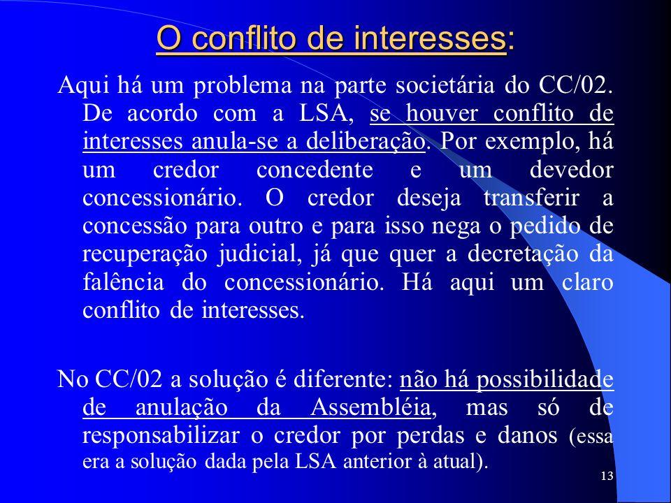 13 O conflito de interesses: Aqui há um problema na parte societária do CC/02. De acordo com a LSA, se houver conflito de interesses anula-se a delibe
