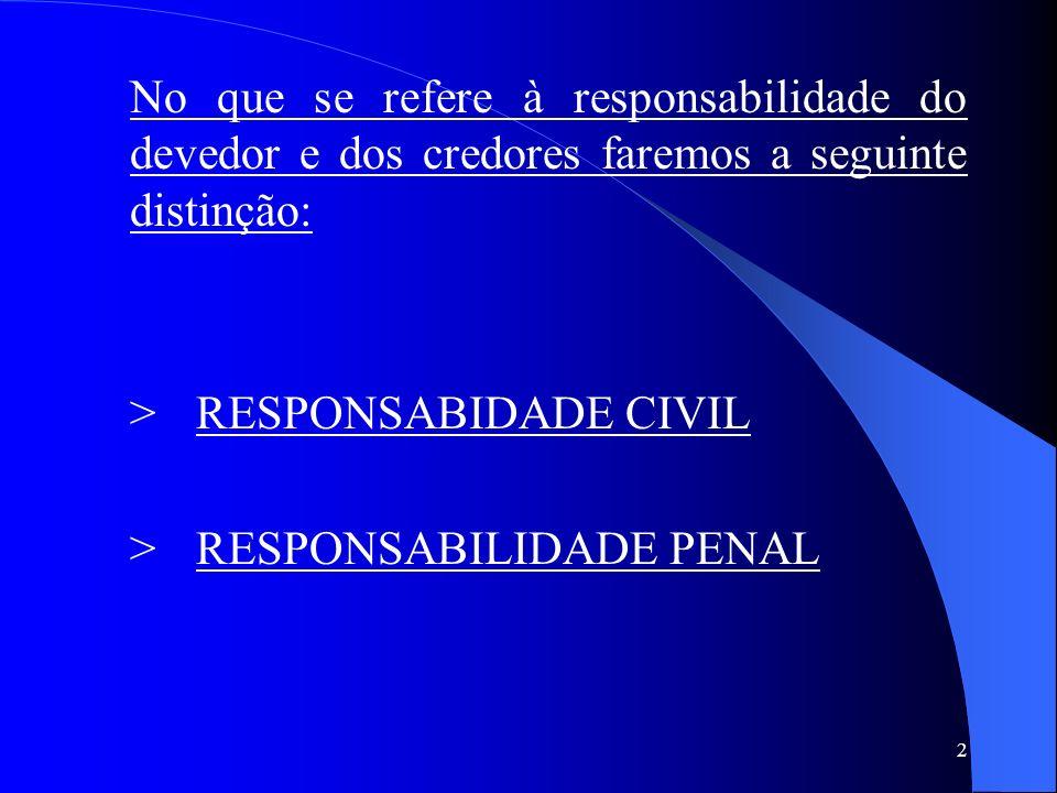 2 No que se refere à responsabilidade do devedor e dos credores faremos a seguinte distinção: >RESPONSABIDADE CIVIL >RESPONSABILIDADE PENAL