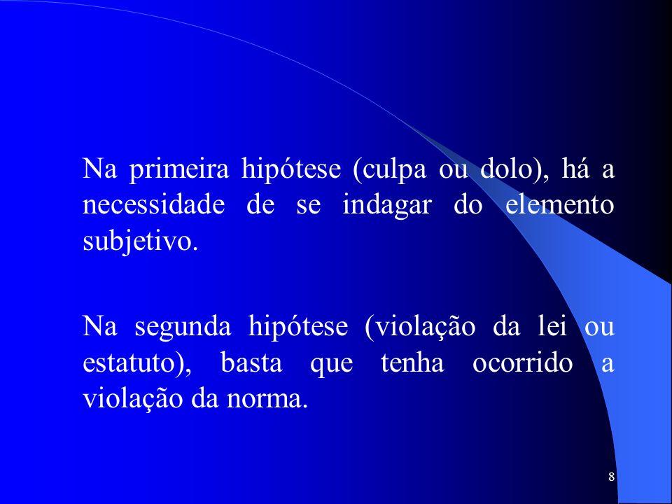 8 Na primeira hipótese (culpa ou dolo), há a necessidade de se indagar do elemento subjetivo. Na segunda hipótese (violação da lei ou estatuto), basta