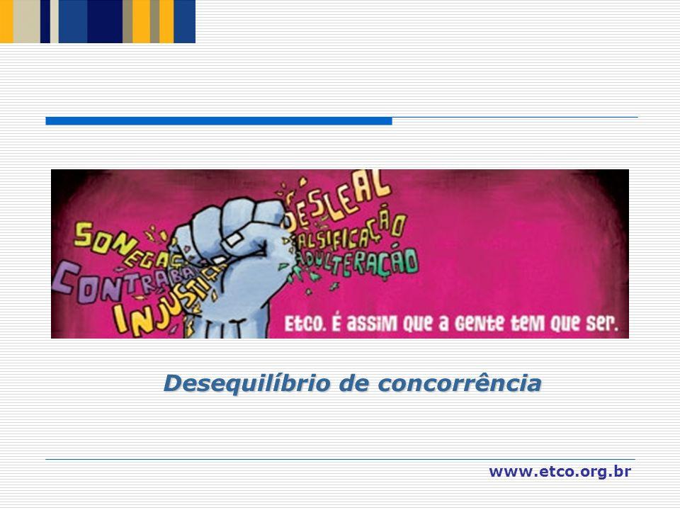 www.etco.org.br Desequilíbrio de concorrência Desequilíbrio de concorrência