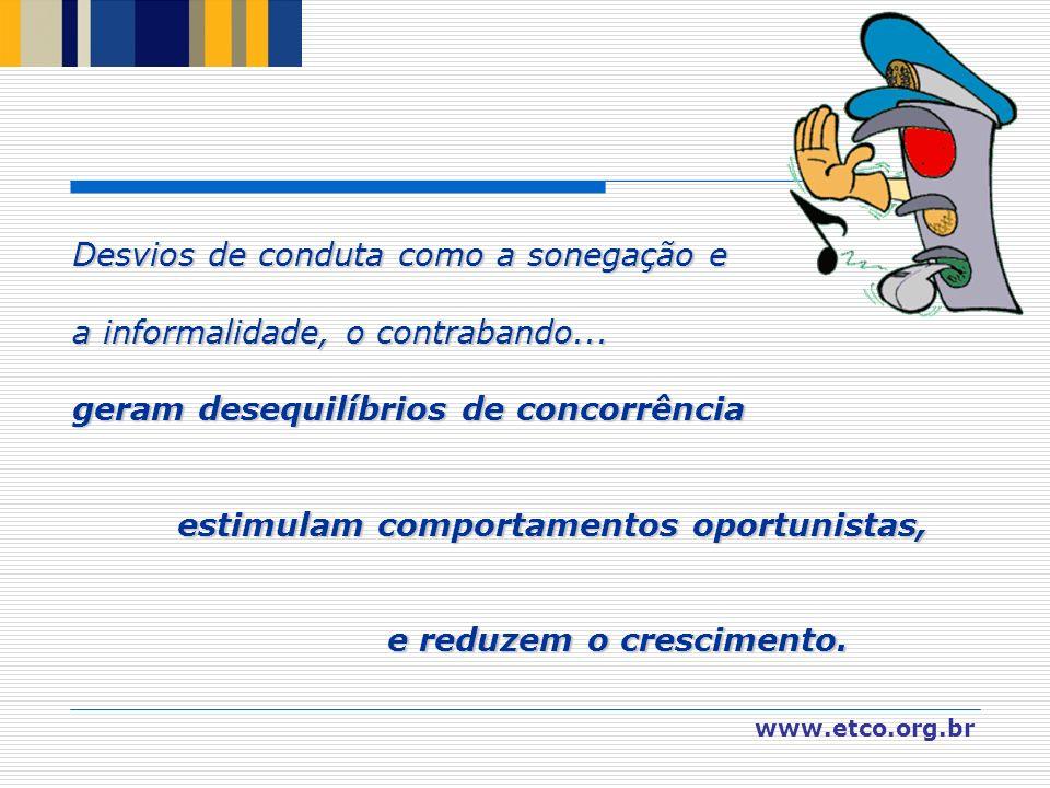 www.etco.org.br Desvios de conduta como a sonegação e a informalidade, o contrabando... geram desequilíbrios de concorrência estimulam comportamentos